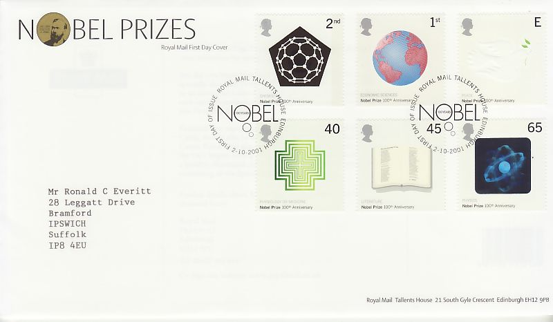 Nobel Prizes First Day Cover